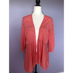 Eileen Fisher pink linen cardigan